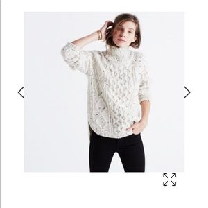 Madewell cableknit shirttail donegal sweater